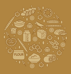 bakery products round-shape vector image vector image
