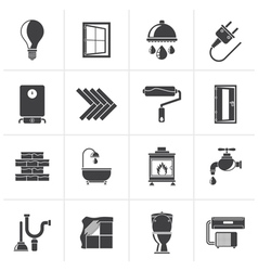 Black Construction and home renovation icons vector image vector image