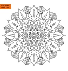 Black mandala flower for coloring book vector