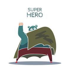 Cartoon hand drawn super hero character with cloak vector