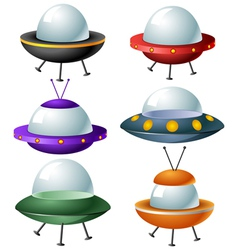 Cartoon UFO set vector image vector image