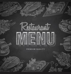 Chalk drawing typography restaurant menu design vector