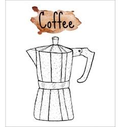 Coffee geyser coffee sketch the inscription of vector