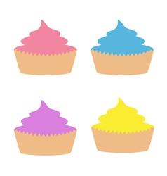 Cupcacke set Flat design style White background vector image