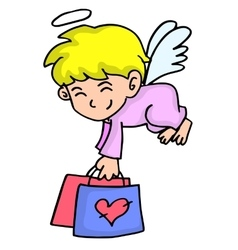 Cupid flying with bag cartoon vector