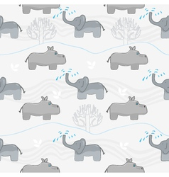 Elephants and hippos vector image vector image