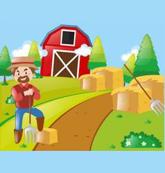 Farmer working on farmyard vector