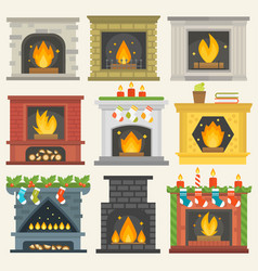 Fireplace isolated house room warm vector