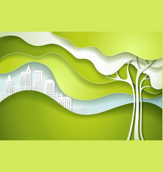 Green tree eco nature concept city vector