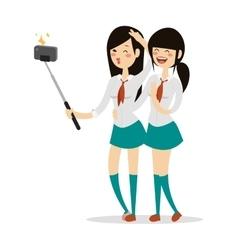 Japanese schoolgirls vector image vector image