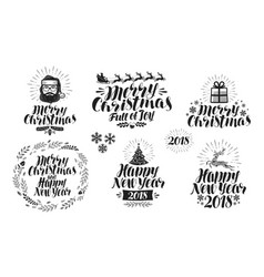 merry christmas or happy new year label set xmas vector image