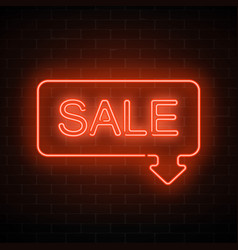 neon sale sign in frame with arrow in red color vector image