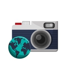photographic camera and earth globe icon vector image