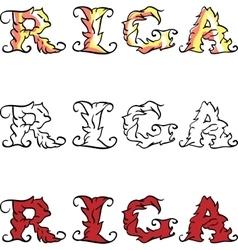 Riga hand written inscription vector