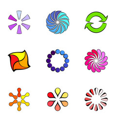 Round figures icons set cartoon style vector