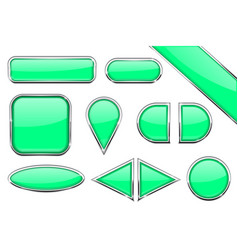 Set of green glass buttons with metal frame vector