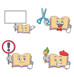 Set of open book character with bring board sign vector