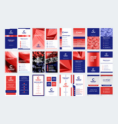 Set of vertical double sided business card vector