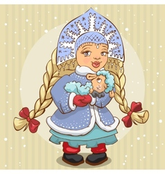 Snow Maiden in blue fur coat holds a lamb vector image vector image