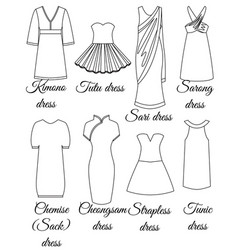 styles of dresses outline vector image