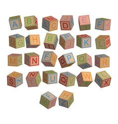 toy blocks alphabet in 3D disordered vector image vector image