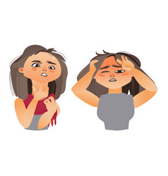 Woman having flu - headache and sore throat vector