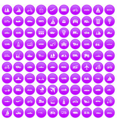 100 transportation icons set purple vector