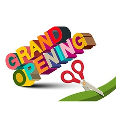 Grand opening 3d colorful title with scissors on vector