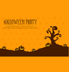 Halloween party card pumpkin landscape vector
