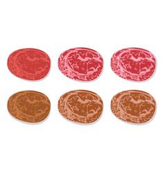 Set of detailed slide fresh ham and grilled salami vector