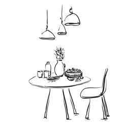 Dining table with glasses and flower sketch vector