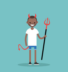 Young black character wearing devil elements vector