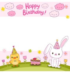 Happy birthday card with a bunny and bird vector