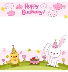 Happy birthday card with a bunny and bird vector
