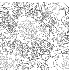 Seamless monochrome floral pattern with peonies vector
