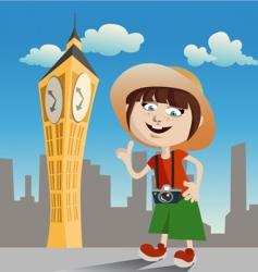 tourist girl vector image
