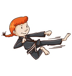 A simple sketch of a girl doing martial arts vector