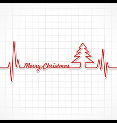 Heartbeat make merry christmas text and tree vector