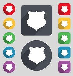 Shield icon sign a set of 12 colored buttons and a vector