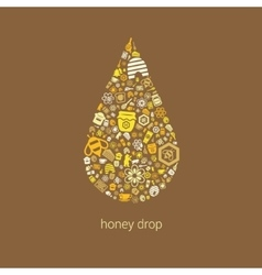 Honey icons in drop vector