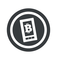 Round black bitcoin screen sign vector