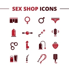 Sex shop icons set trendy two color line vector
