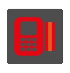 Card processor rounded square button vector