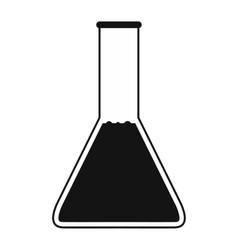 Conical flask test tube with oil icon vector