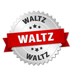 Waltz 3d silver badge with red ribbon vector