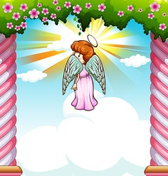 Angel with wings flying in garden vector