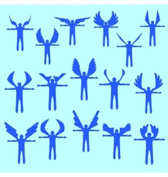 Angels linear icon set Different wing styles vector image vector image