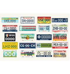 automobile or car vehicle registration plates vector image