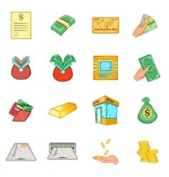 Bank loan credit icons set cartoon style vector