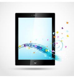 Black tablet with butterflies vector